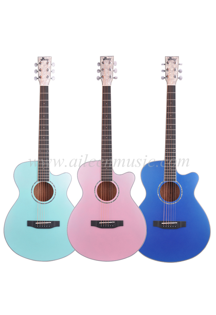 40 Inch Solid Spruce Top Mahogany Plywood Back And Side Metallic Color Acoustic Guitar(AFM17CC-OM)