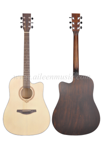 41 Inch D Shape Body Black ABS Binding Acoustic Guitar (AFM-H10)