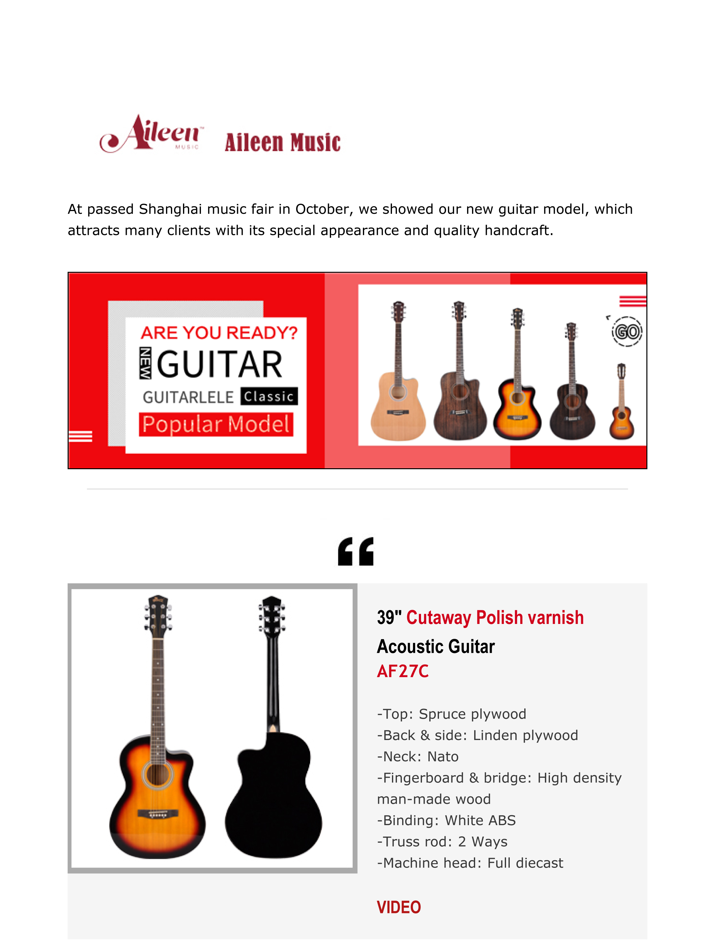 See What New High Quality Guitars Aileen Music Developed For