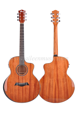 40 Inch Cutaway Solid Mahogany Top Glossy Solid Top Acoustic Guitar (AFMAA7C-J)