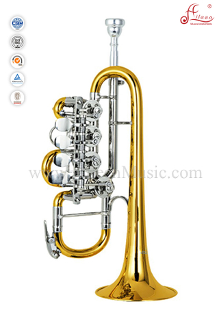Yellow brass Piston Lacquer Finish Bb Key Rotary Trumpet (TP8820)