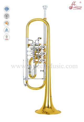 Yellow Brass Piston Lacquer Finish Bb Key Rotary Trumpet (TP8800)