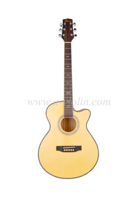 Spruce Plywood Sapeli Acoustic Guitar With Black ABS Binding (AF168CW-39)